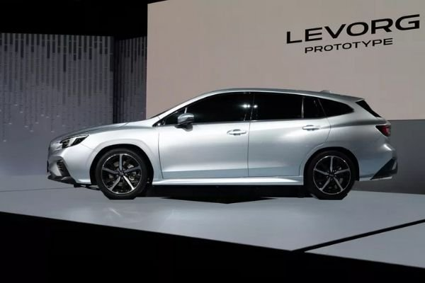 A picture of the 2020 Levorg prototype at the 2019 TMS