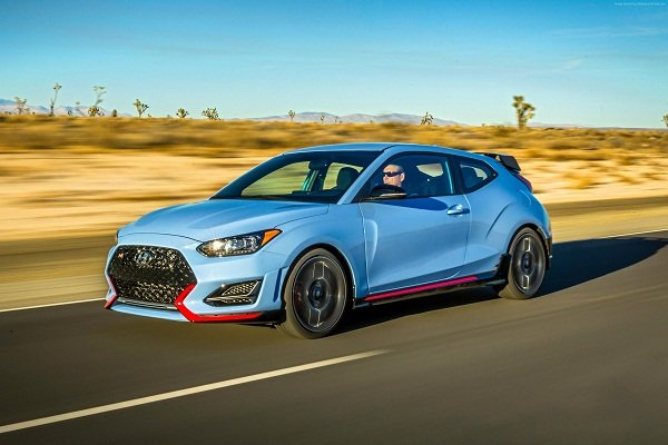 A picture of a 2020 Hyundai Veloster travelling on the road