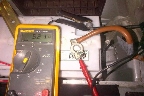 checking the presence of parasitic drain in a car battery