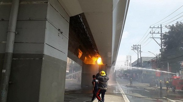 A picture of the LRT 2 fire