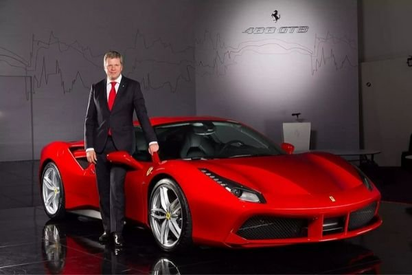 A picture of Ferrari Far and Middle East with Dieter Knechtel together with the Ferrari 488 GTB