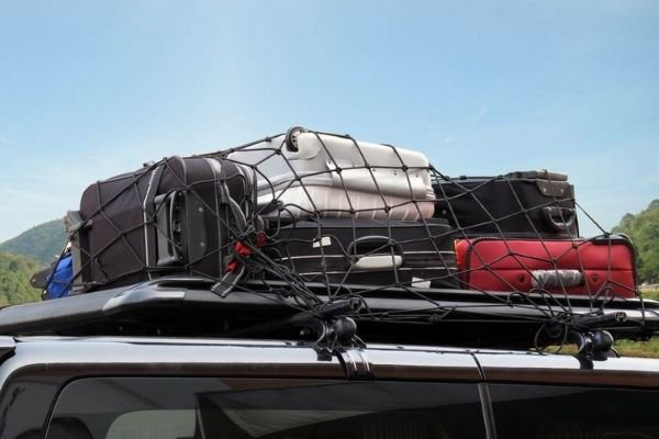 A picture of a well secured cargo on a roof rack