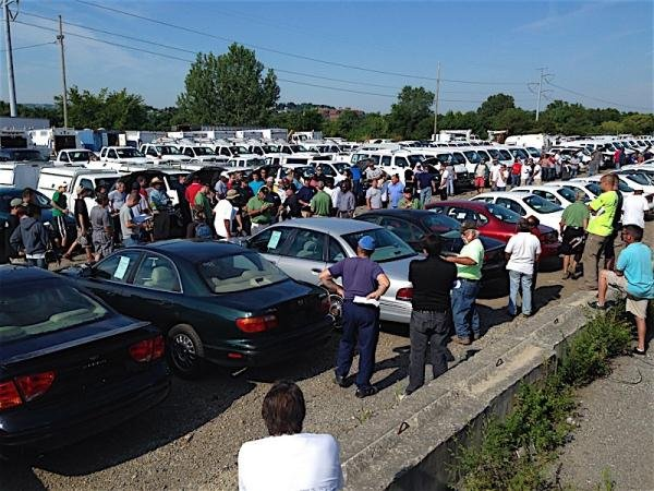 A picture of a car auction