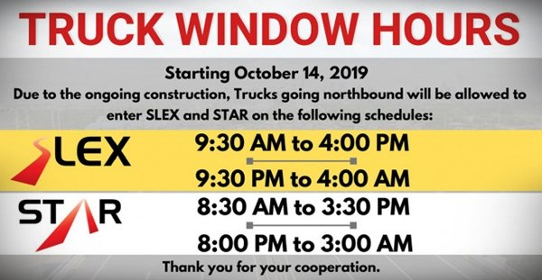 A list of allowable hours for Manila-bound trucks on the SLEX
