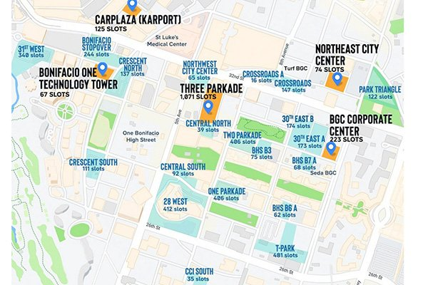 A map showing several parking lots in BGC and their capacities.