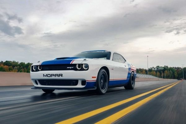 A picture of the Challenger Drag Pak at a drag strip.