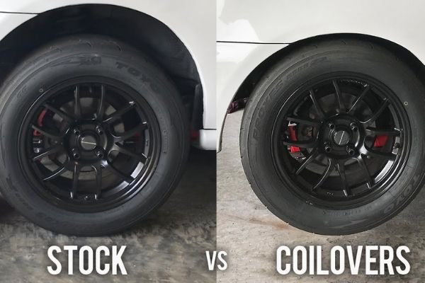 A comparison of a stock car and a car with coilovers
