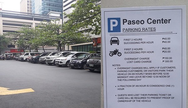 A picture of the paseo center car park