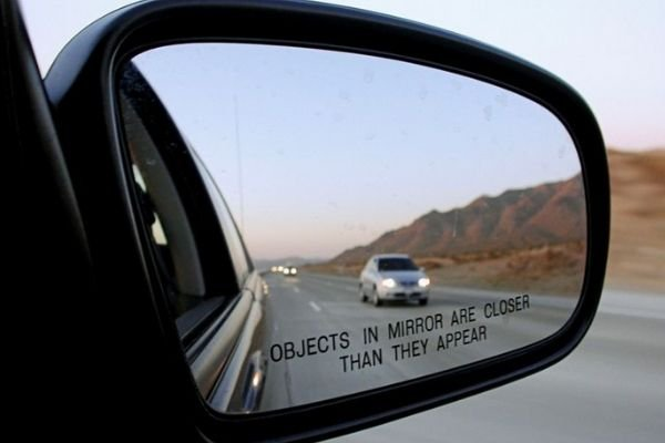 A picture of a side mirror in use.