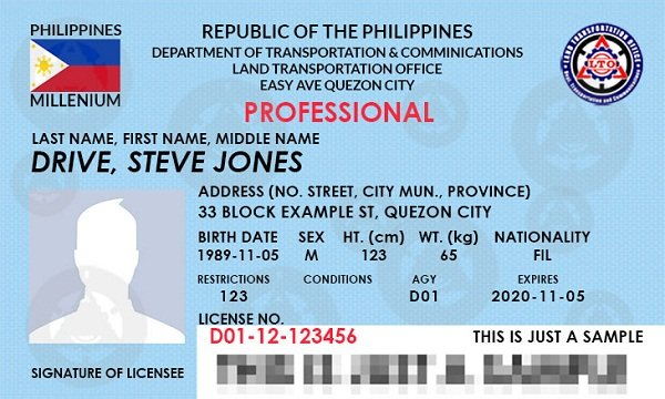 A picture of a professional LTO driver's license