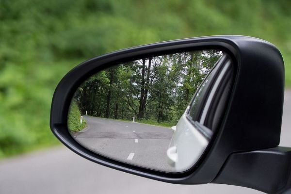 A car's side mirror.