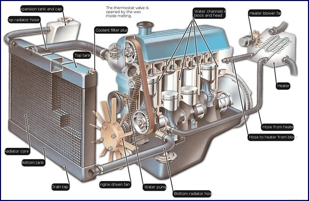 A diagram of a combustion engine highlighting the cooling system
