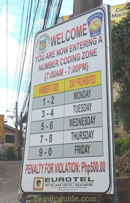 A picture of a coding number sign in Baguio City.