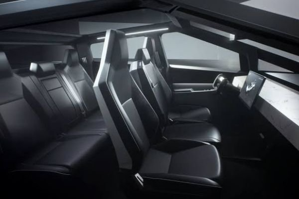 A picture of the Cybertruck's interior.