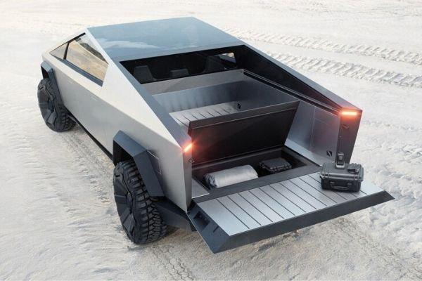Cybertruck's bed and hidden cargo storage bin