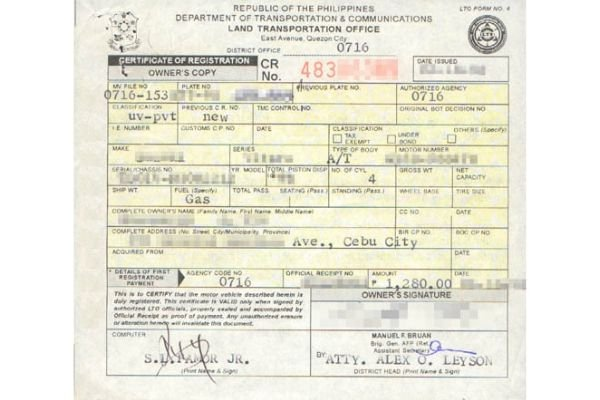 A picture of an LTO issued CR.