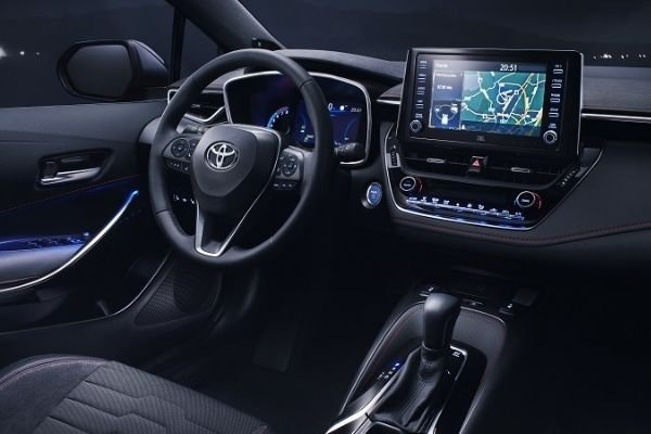 A picture of the Toyota Corolla Altis Hybrid's interior.