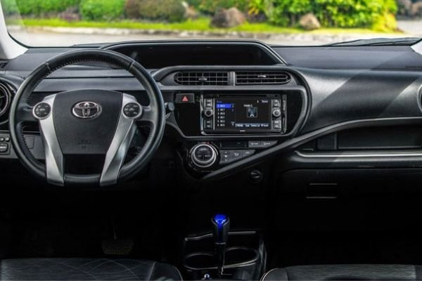 A picture of the Toyota Prius C's dashboard.