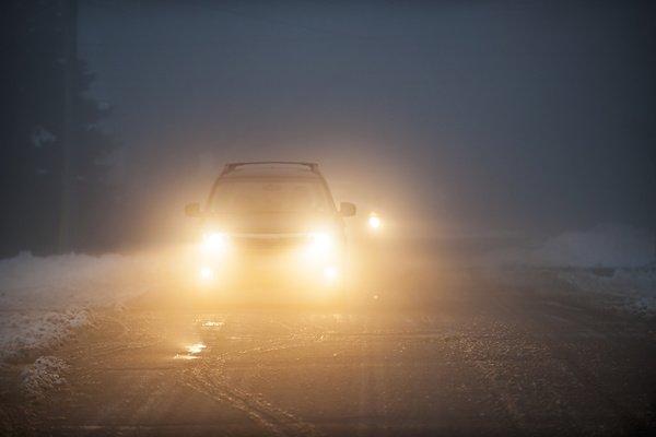 car with fog lights on