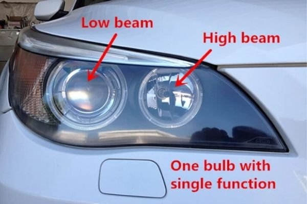 A picture of a car with single beam headlamp bulbs.