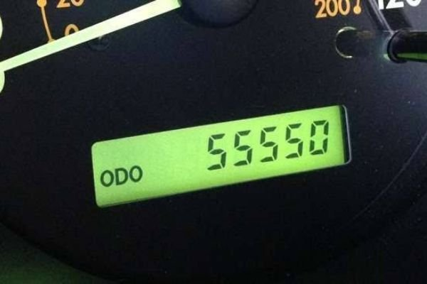 A Picture of a car's odometer