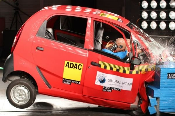 A picture of a car crash test without airbags