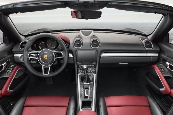 A picture of the Porsche 718 Boxster's cockpit