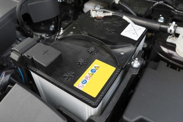 A picture of a car's battery