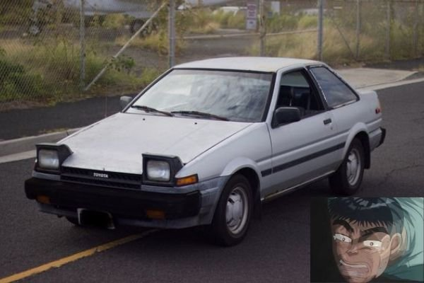 A picture of Itsuki and the Toyota AE85