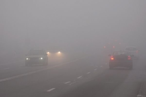 A picture of a foggy road