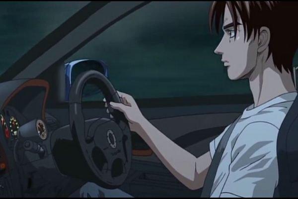 Takumi driving Bunta's Subaru Impreza WRX STI
