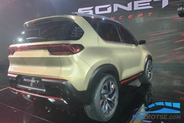 A picture of the rear of the Kia Sonet at the 2020 Auto Expo