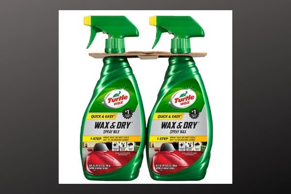 A picture of two Turtle wax and dry car wax bottles
