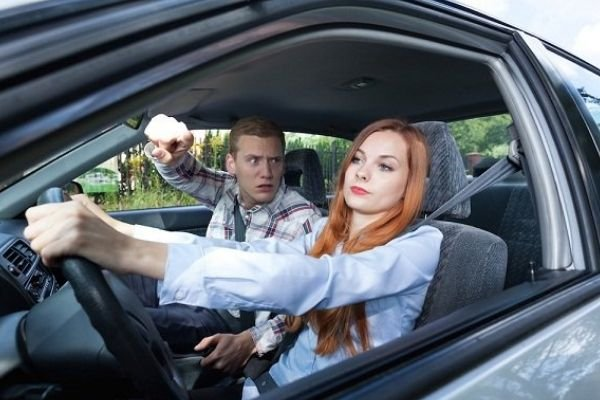 A picture of a backseat driver with his partner
