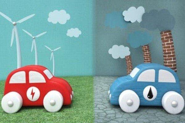 Regular car vs. electric car  illustration