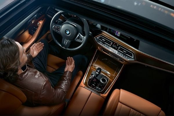 A top down view of the BMW X5's interior