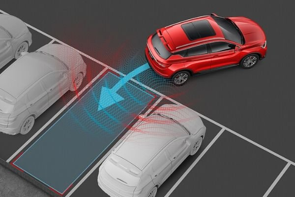 A simulated picture of the active parking assist doing its job