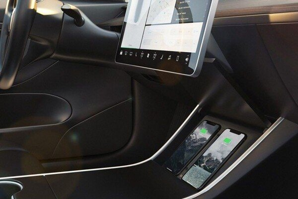 Car with wireless phone charging feature