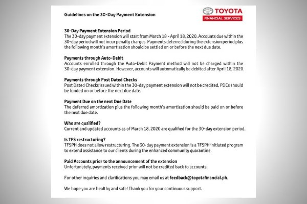 Guidelines on the 30-Day Payment Extension