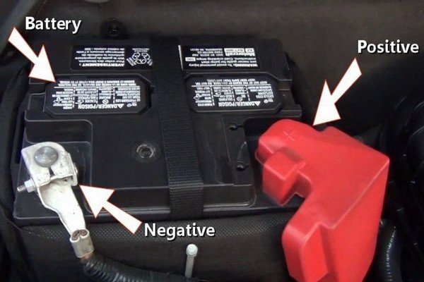 Locating the positive and negative terminals of your car battery.
