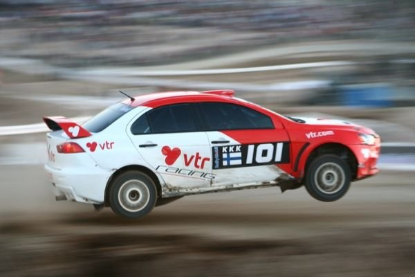 A picture of an EVO performing a jump