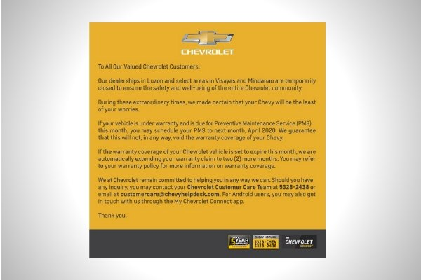 The official statement from Chevrolet Philippines