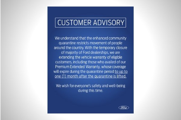 The official statement from Ford Philippines