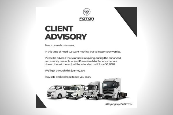 The official statement from Foton Philippines