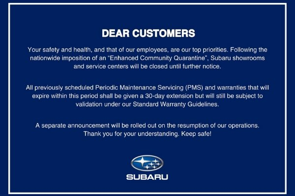 The official statement from Subaru Philippines