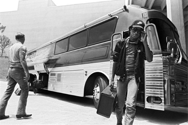 Michael Jackson with his Neoplan Touring Coach