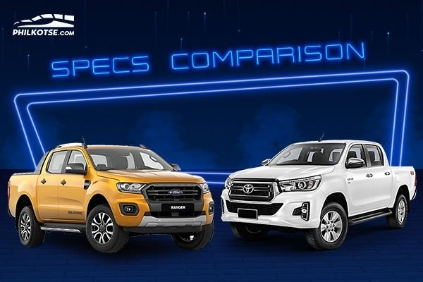 A picture of the Toyota Hilux and Ford Ranger head to head