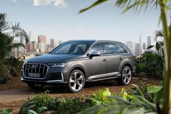 An Audi Q7 on top of a mountain