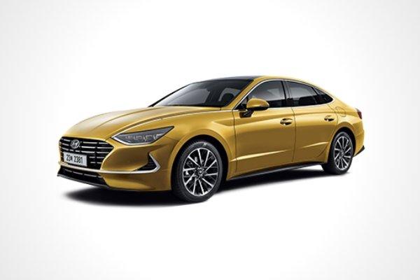 A yellow Hyundai Sonata