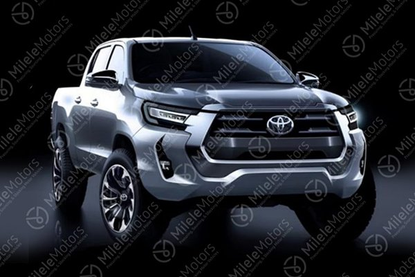rendering of supposed 2021 Toyota Hilux front